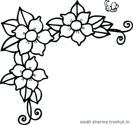 425x400 coloring of flower free flowers frame coloring pages easy flower