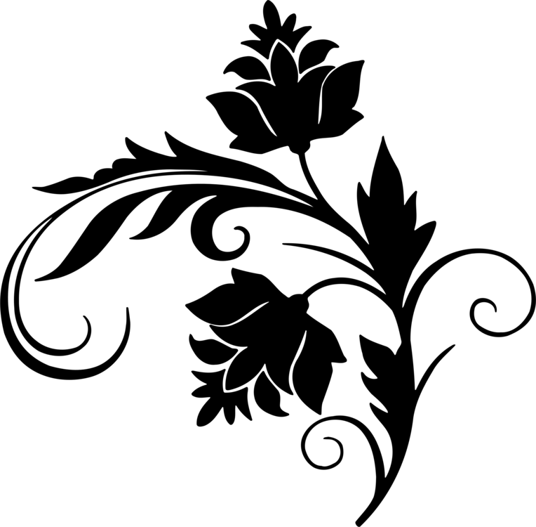 764x750 Flower Leaves Clipart Black And White