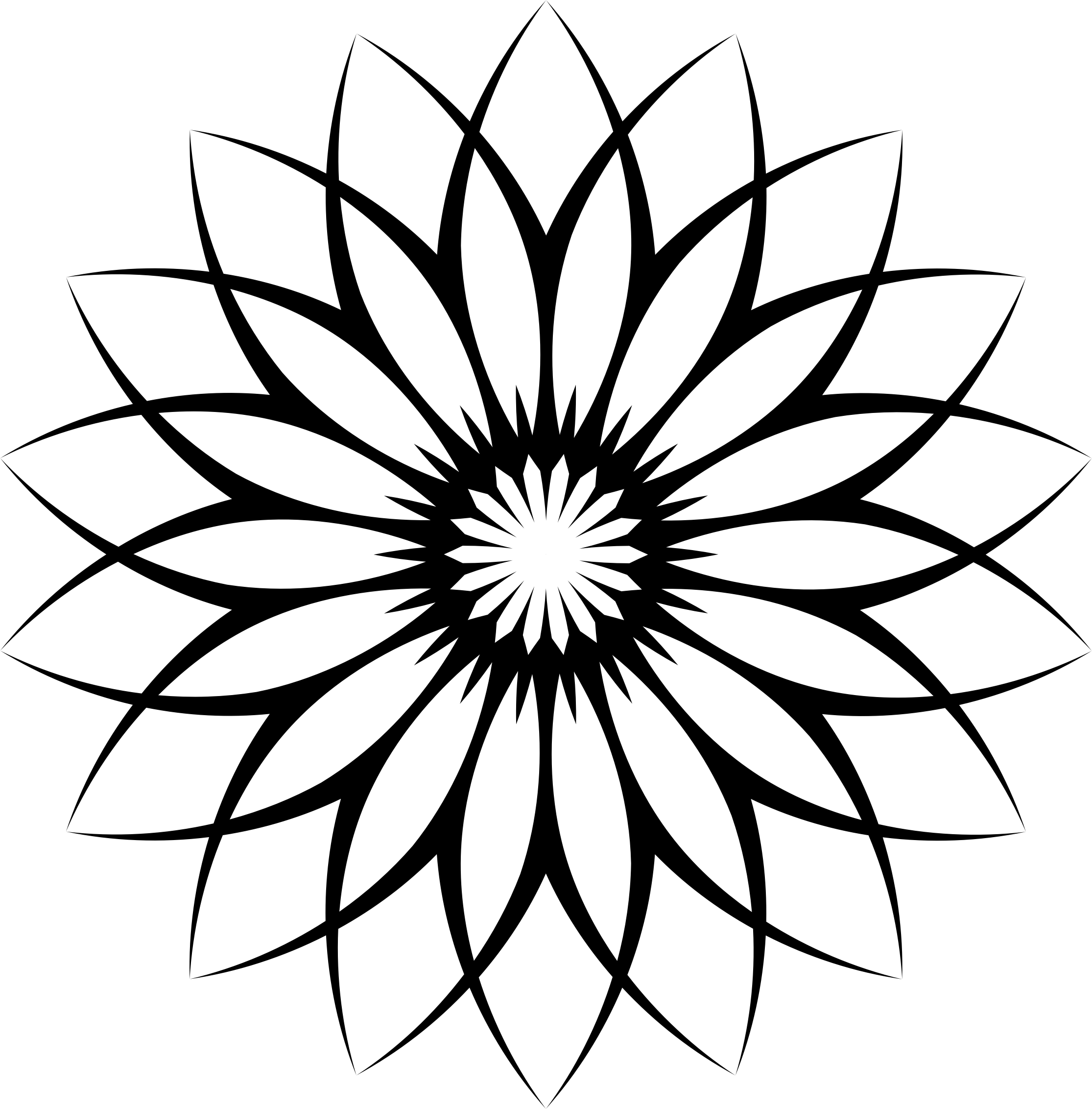 2230x2264 Flower Line Clipart Black And White