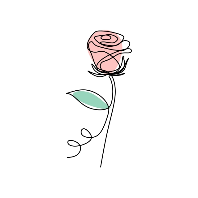640x640 Continuous Line Art Drawing Of Rose Flower Blooming Minimalist