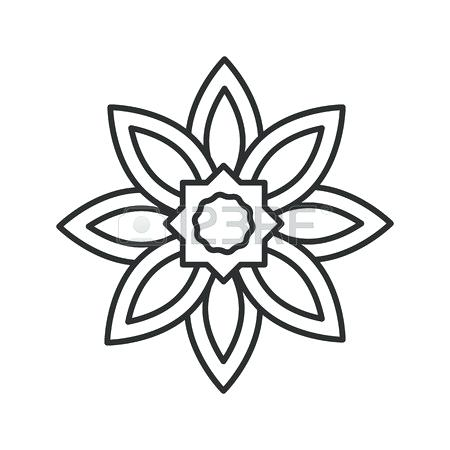 450x450 Flower Outline Drawing Thin Line Illustration Vector Isolated