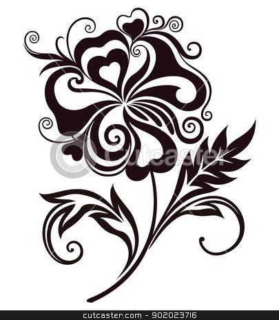 405x464 Abstract Flower Line Art Stock Vector