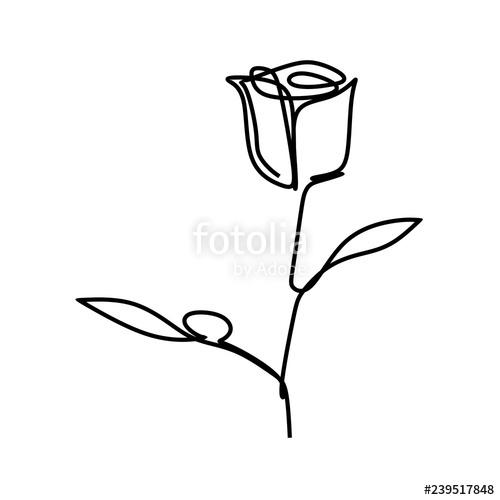 500x500 One Line Art Of Rose Flower Minimal Style Vector Illustration