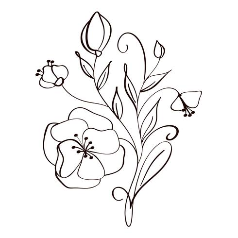 490x490 Modern Flowers Drawing And Sketch Floral With Line Art Isolated