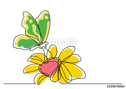 500x354 Single Line Drawing Of Butterfly And Flowers Stock Image
