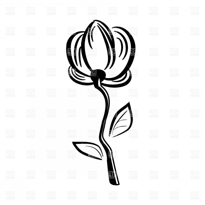 1440x1440 Black Line Flower Clip Art