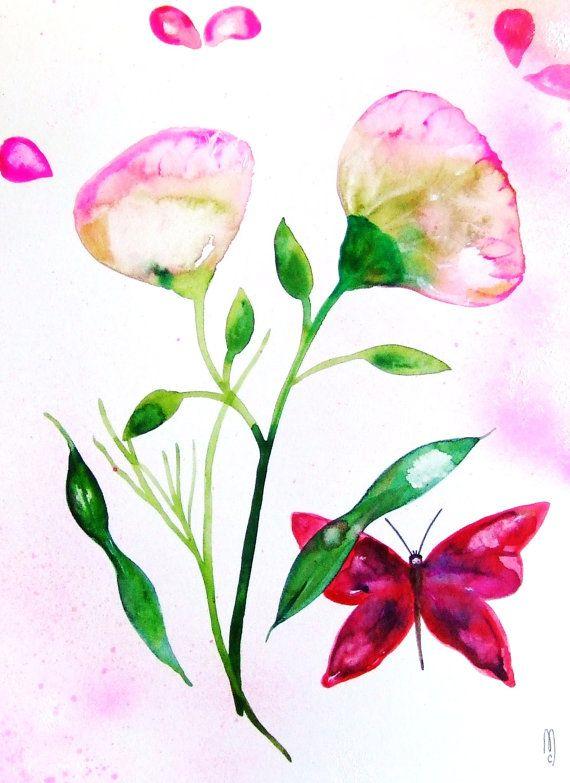 570x783 Flowers Watercolor Butterfly Watercolor Still
