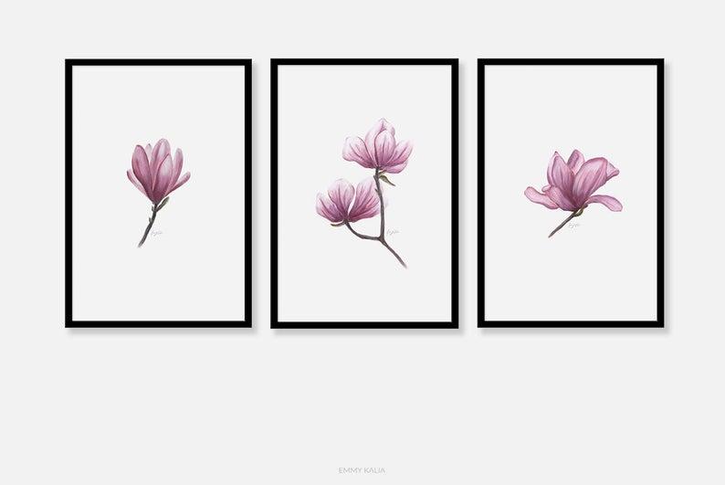 794x531 Flowers Art Prints Wall Art Soft Pastel Drawing Flower Etsy