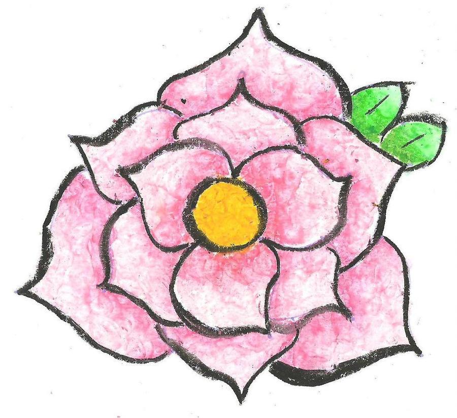 900x822 Oil Pastel Pink Flower