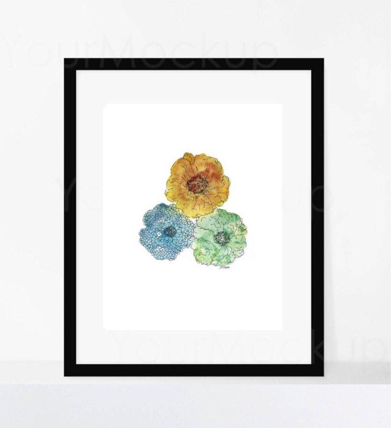794x869 Watercolor Flower Original Painting Bathroom Artwork Pastel Etsy