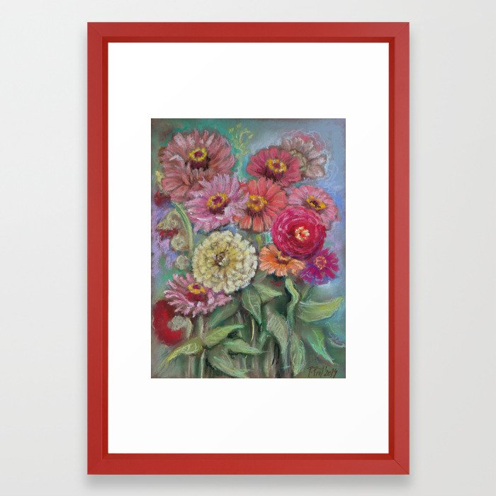 700x700 Autumn Flowers In The Garden Still Life Pastel Drawing Pink Purple