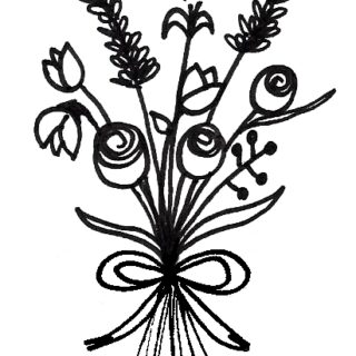 320x320 Easy Flower Bouquet Drawing Step