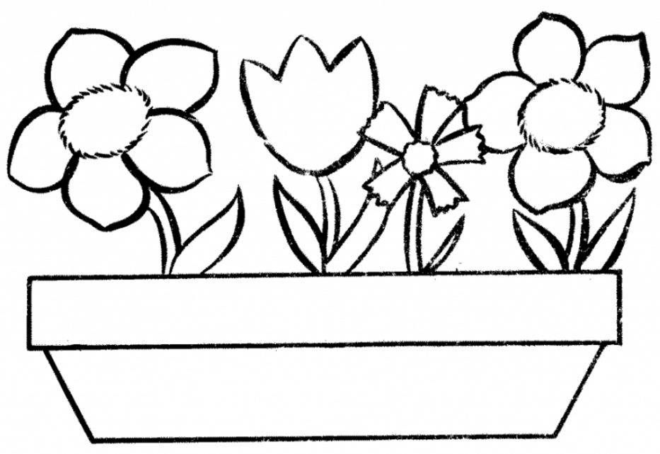 Flower Pot Line Drawing