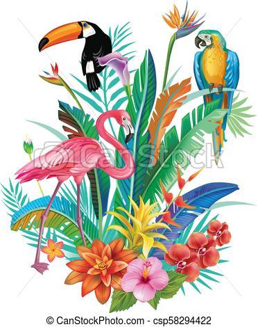 372x470 Composition Of Tropical Flowers And Birds Arrangement