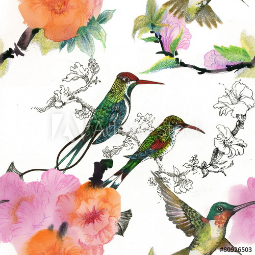 500x500 Drawing Of Beautiful Bright Birds And Flowers Seamless Pattern