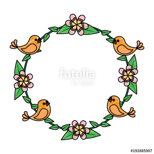 500x500 Floral Wreath Birds Flowers Natural Decoration Vector Illustration