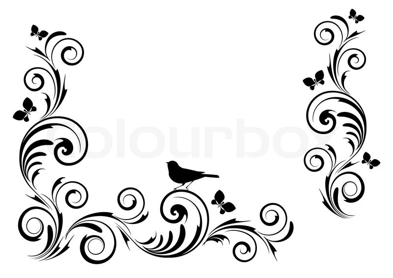 800x566 Angle Vignette With Ornament And Birds Stock Vector Colourbox