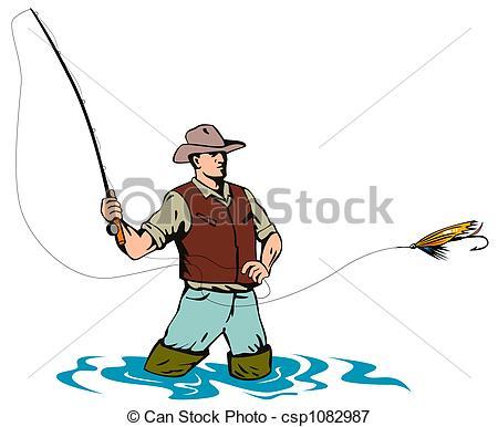 450x386 fly fishing illustration on fly fishing