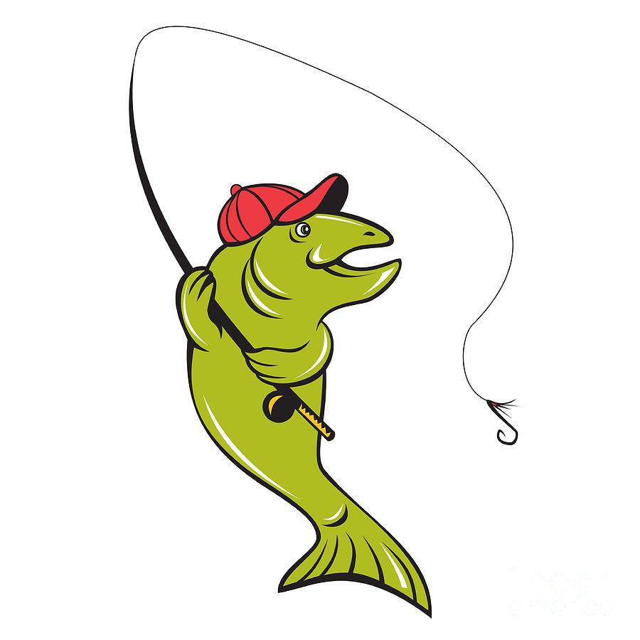 900x900 Trout Fly Fishing Rod Hook Cartoon Digital Art