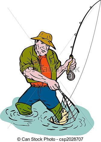 335x470 Cartoon Fisherman Fly Fishing Illustration Of A Cartoon Fisherman
