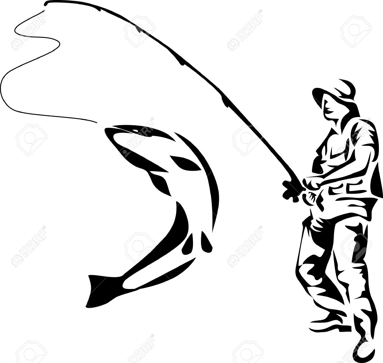 1300x1231 Fly Fishing Clipart Black And White Clip Art Images