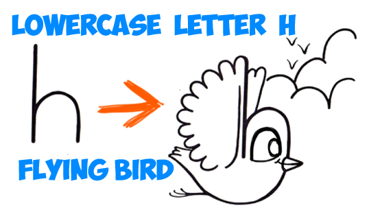 538x309 How To Draw A Flying Cartoon Bird From A Lowercase Letter H Shape