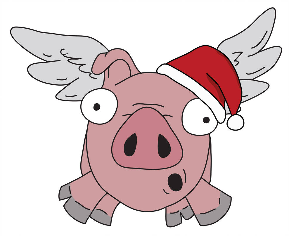 989x808 Flying Pig With Santa Hat