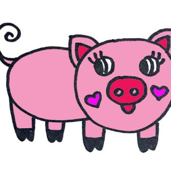 336x336 Pig Cartoon Drawing Easy Pencil Step