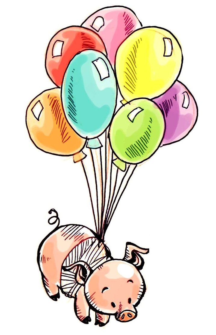 718x1113 Piggie With Balloons Nothin' But Pigs Part Flying