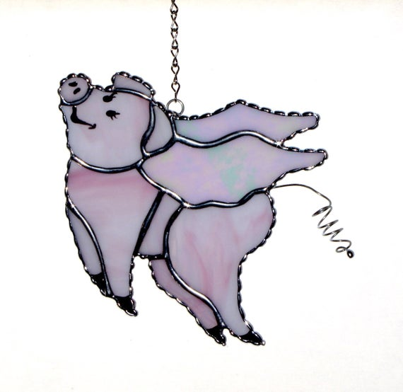 570x554 Stained Glass Suncatcher Pink Flying Pig When Pigs Fly Etsy