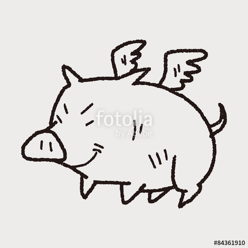 500x500 Flying Pig Doodle Stock Image And Royalty Free Vector