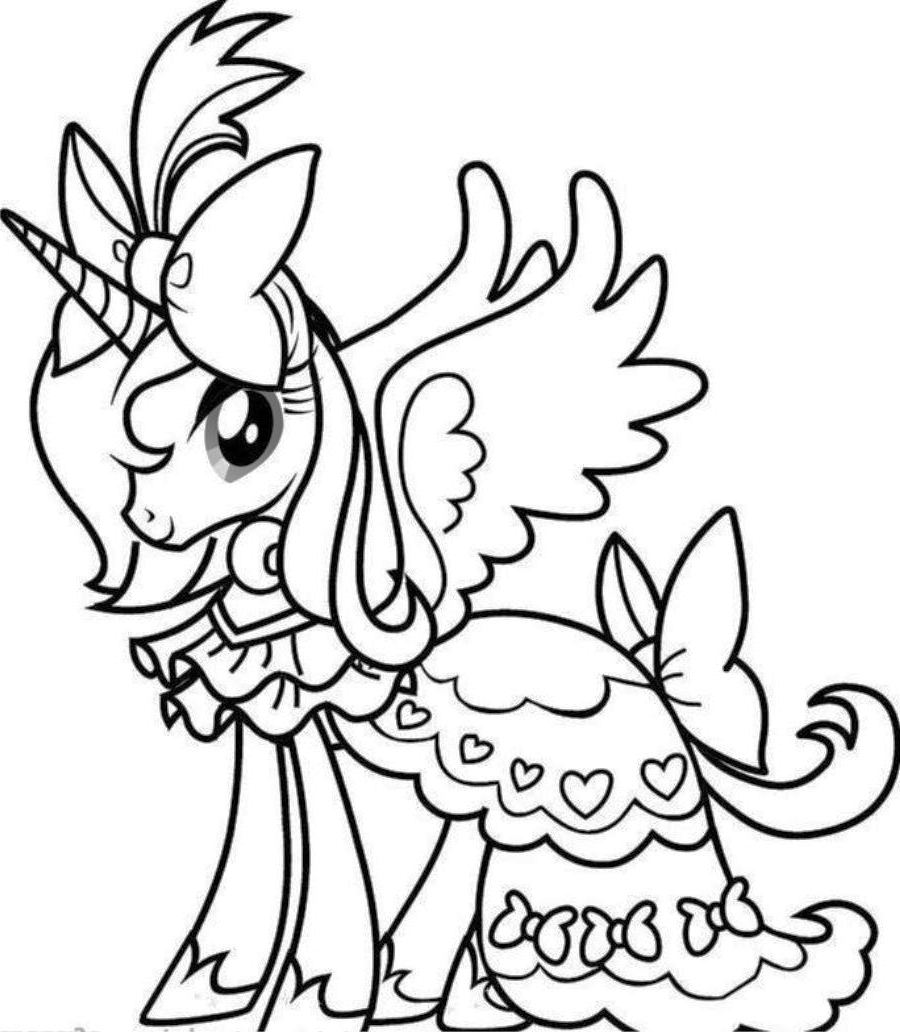 900x1032 Flying Unicorn Coloring