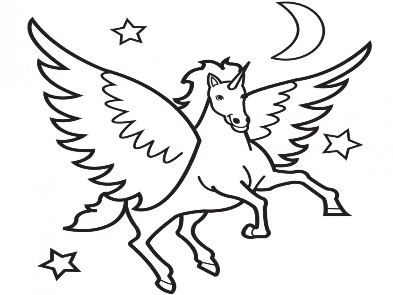 1280x960 Flying Unicorn Coloring Pages
