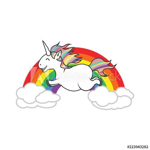 500x500 Flying Beautiful Funny Majestic Unicorn On Rainbow Vector Logo