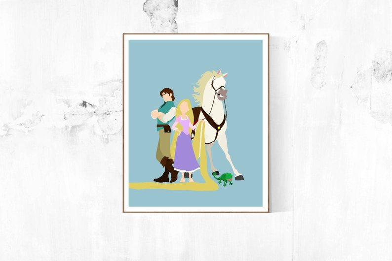 794x530 tangled characters minimalist poster rapunzel poster disney etsy