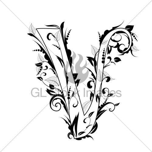 500x500 Foliage Letter Pencil Drawings