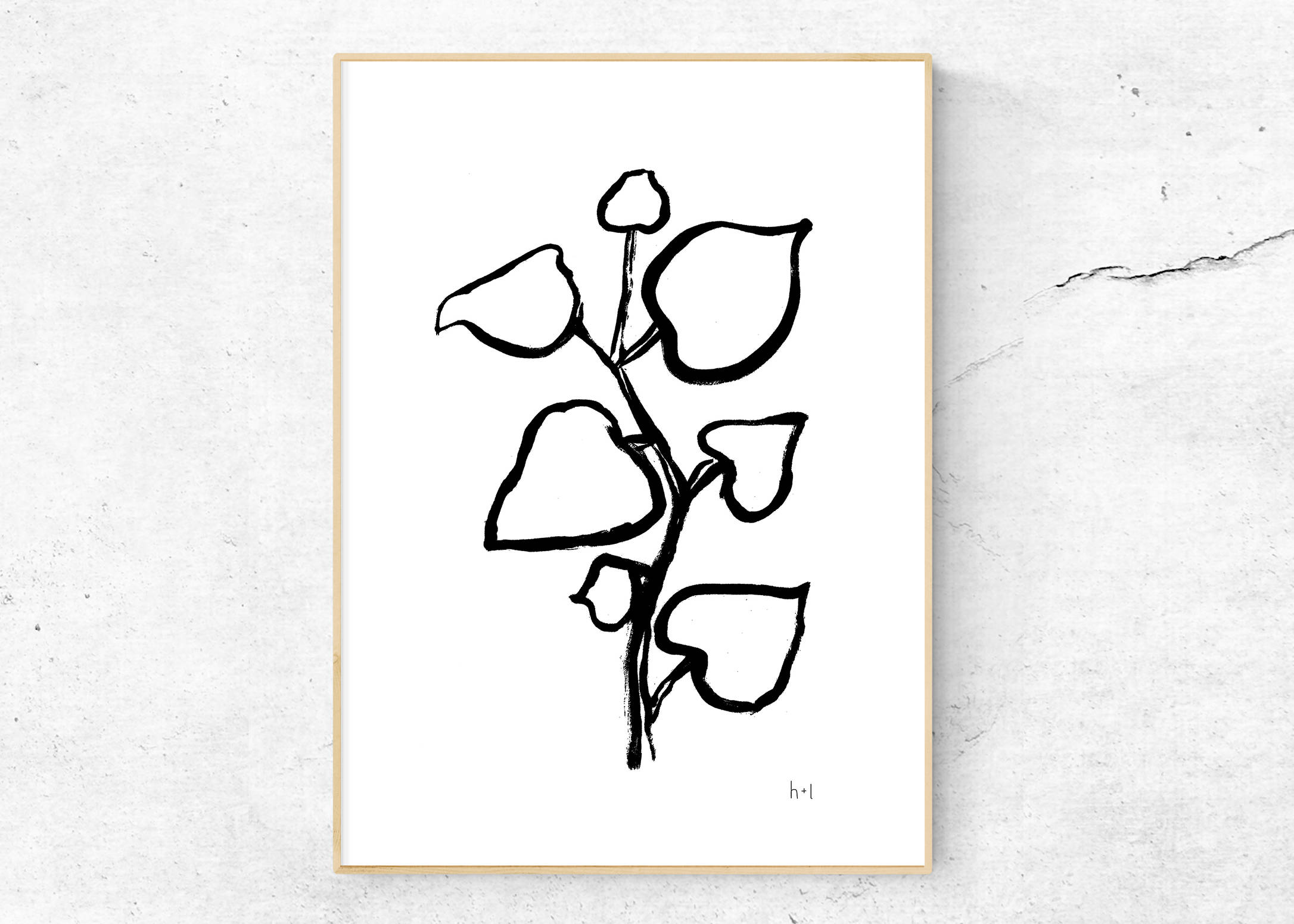 2172x1551 Hibiscus Leaves Poster Digital Download Line Drawing Ink Etsy