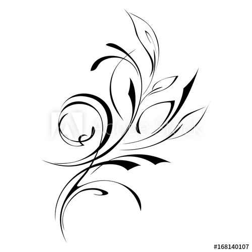 500x500 Ornament Abstract Drawing With Foliage In Black Lines
