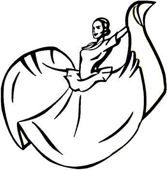 345x350 line drawing of mexican dancer ballet stuff in dancer