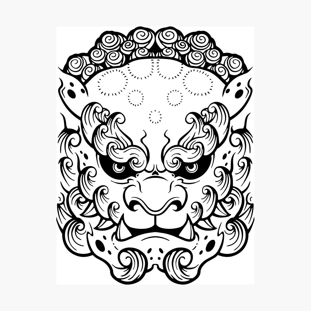 1000x1000 Komainu Foo Dog Framed Print