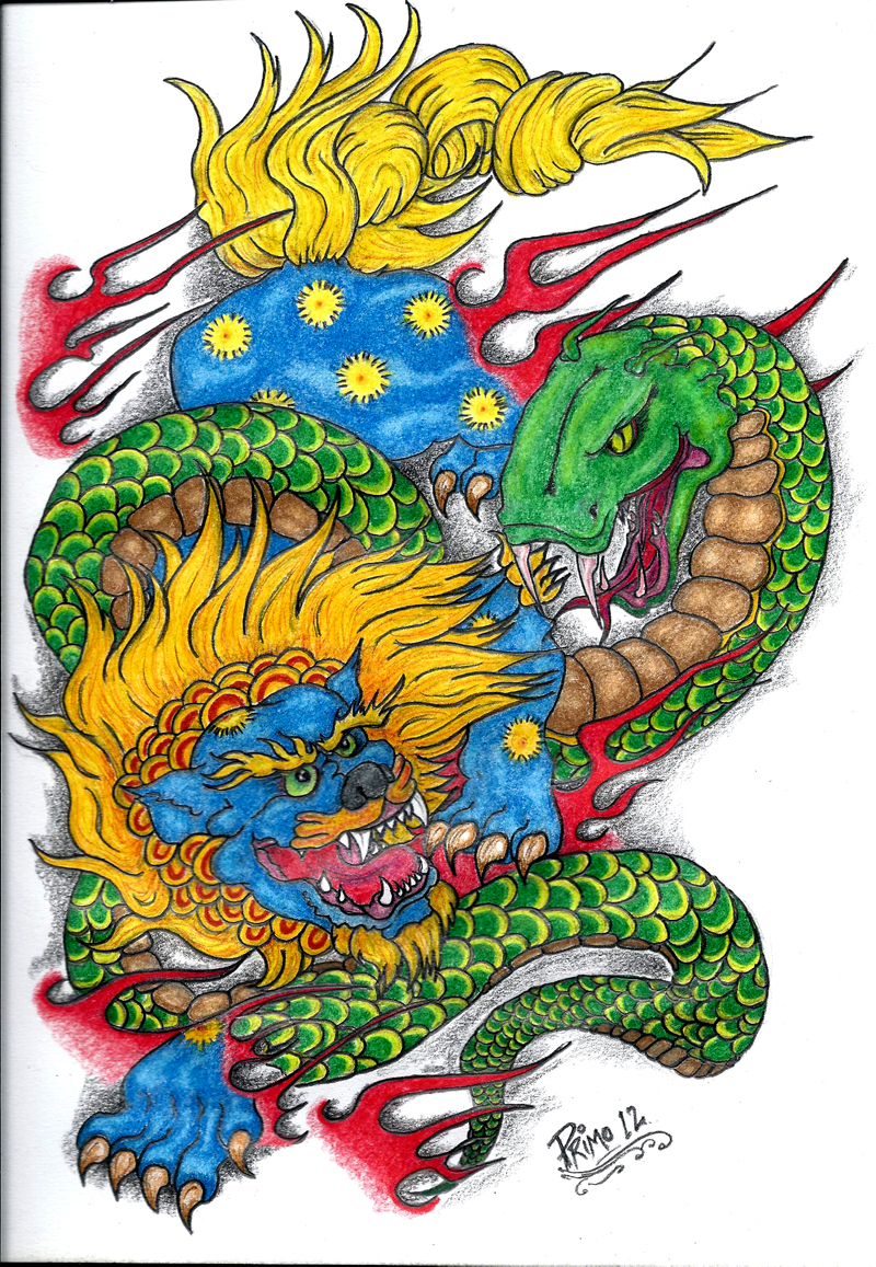 800x1157 Traditional Foo Dog Drawing