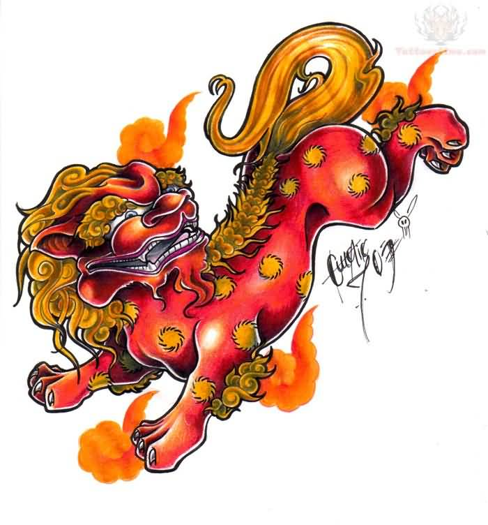 700x752 Colorful Foo Dog Tattoos
