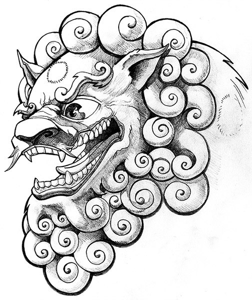 505x600 Crazy Grey Ink Foo Dog Head Tattoo Design