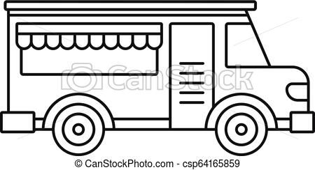 450x244 fast food truck icon, outline style fast food truck icon outline