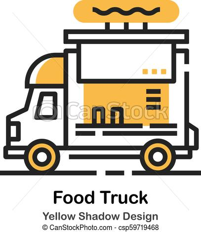 407x470 food truck lineal color illustration food truck front in lineal