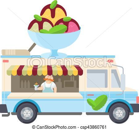 450x419 Food Truck Vector Flat Illustration Modern Design Concept