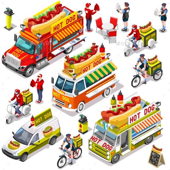 590x590 Hot Dog Take Away Isolated Food Truck And White Car Or Van