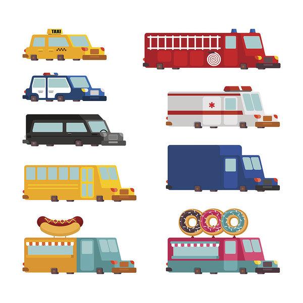 600x600 Car Cartoon Set Fire Engine And Police Car Ambulance And Taxi