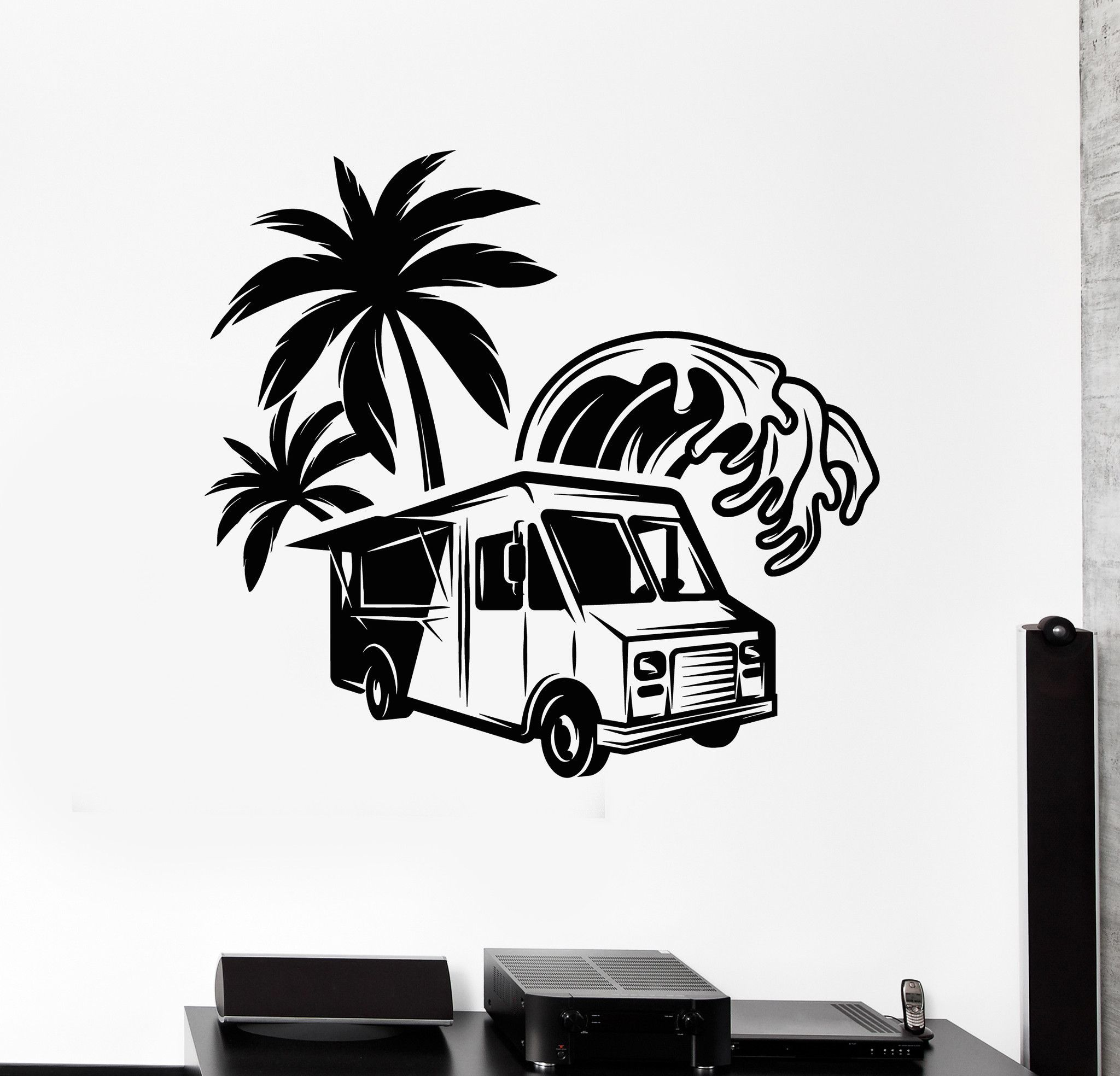 2048x1968 Vinyl Wall Decal Food Truck Palm Wave Fast Food Stickers Unique