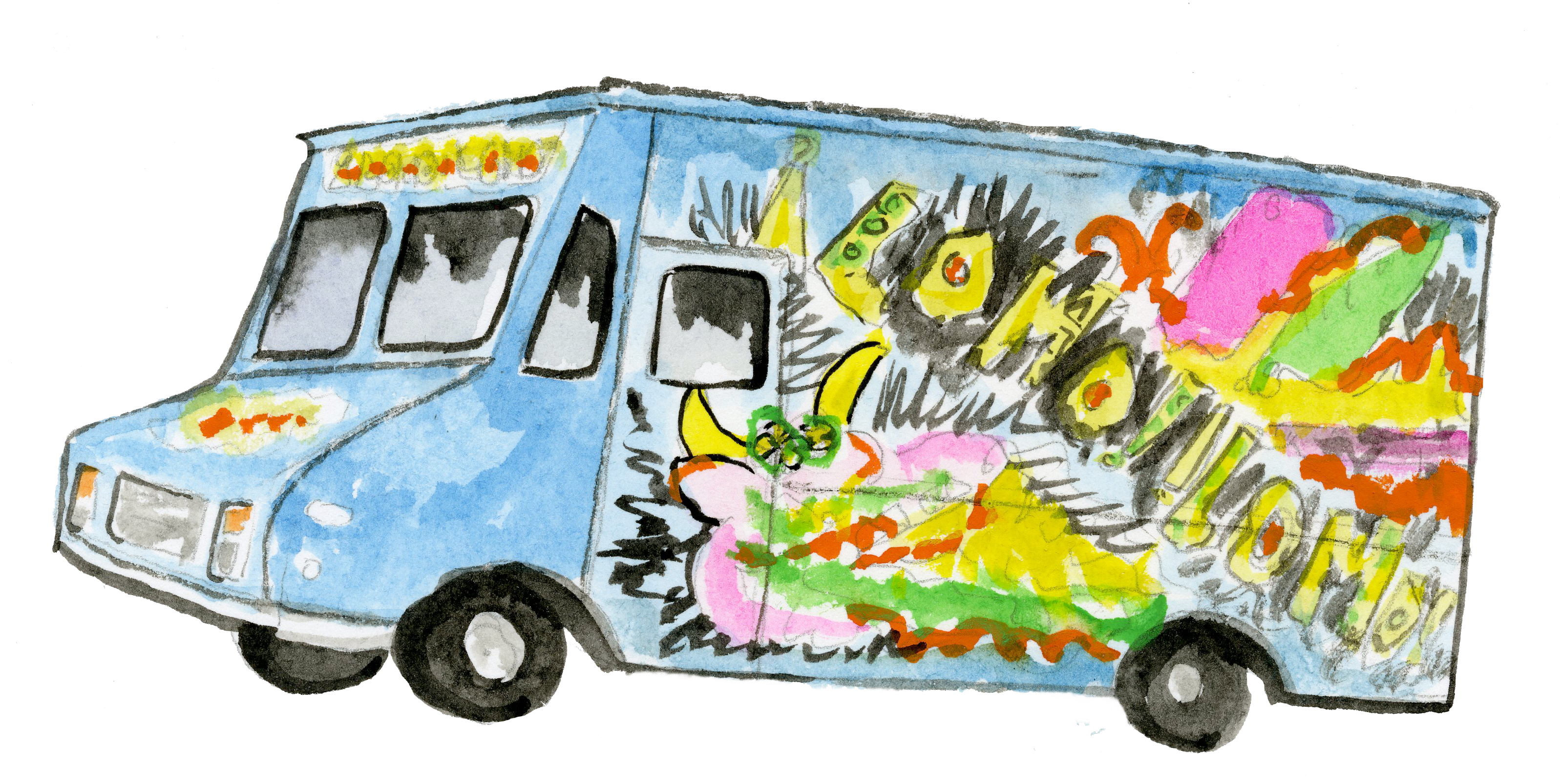 3194x1606 Collection Of Free Drawing Truck Food Download On Ui Ex